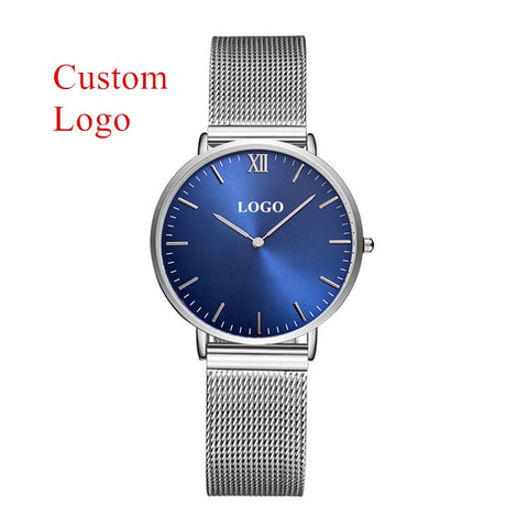 Customise Your Logo Classic Watches Women Rose Gold Stainless Steel Mesh Ladies Wrist Watches