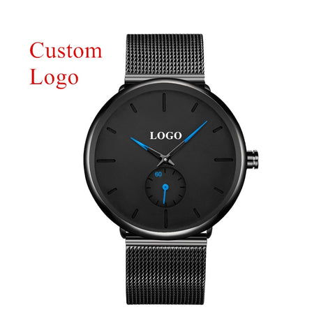 Build Your Own Brand Watches Men Stainless Steel Mesh Custom Logo Man Watch Private Label Personalized Watch