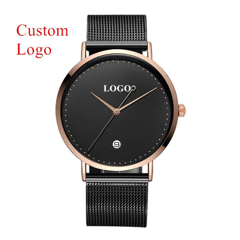 Brand Your Own Logo Watch Luxury OEM Customized Stainless Steel Mesh Watches