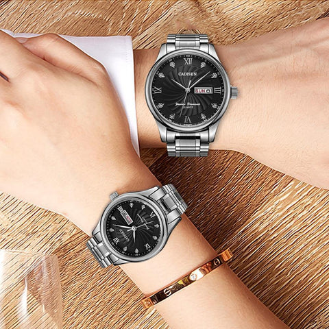 2 Pack Couple Watch Mens Quartz Watches Top Brand Luxury Ladies Dress Wristwatch Set - The Clothing Company Sydney