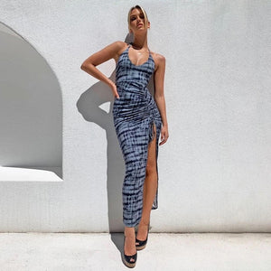 Sleeveless Ruched Slit Maxi Party Club Outfits Fashion Print Sexy Backless Elegant Dress