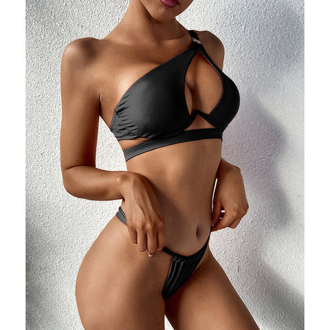 Cut Out 2 Piece Swimsuits Bikini Push Up Swimwear Black Micro Thong Bathing Suits One Shoulder Bikini Set