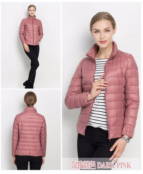 Womens Duck Down Winter Ultra Light Slim Long Sleeve Puffer Jacket in 12 Colours