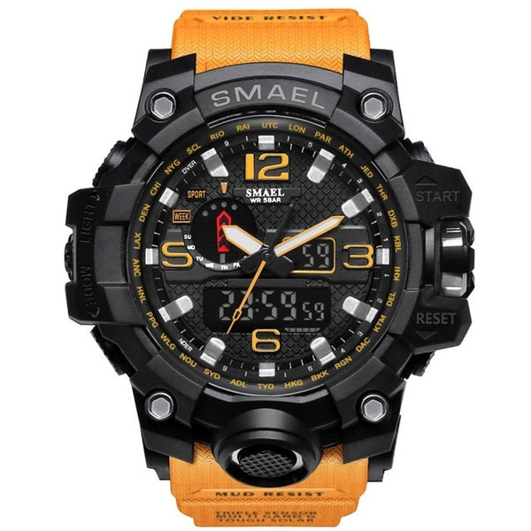 Mens Sports Dual Display Analog Digital LED Electronic Quartz Wristwatches Waterproof Swimming Military Watch