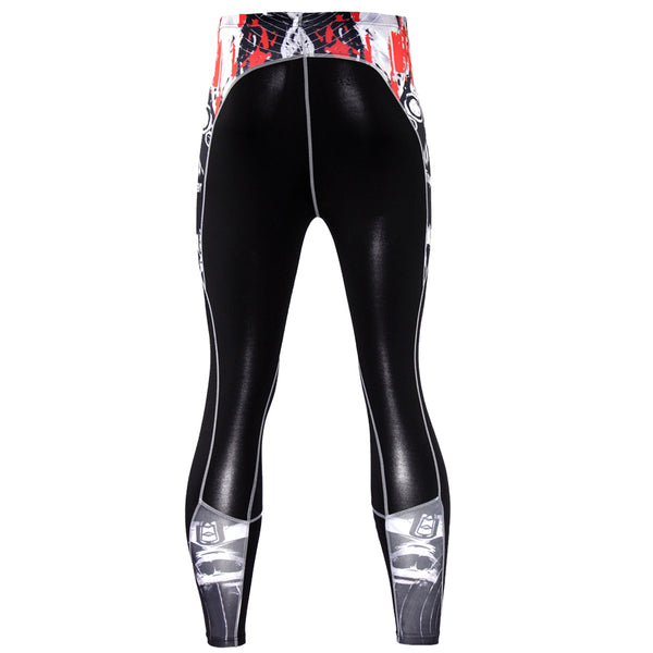 Mens Compression Pants 3D Print Quick Dry Skinny  Fitness Leggings Tights