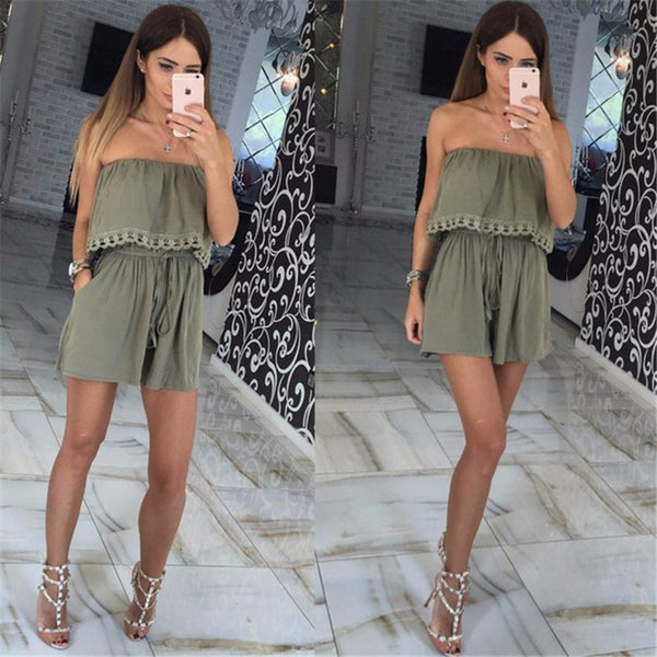 Strapless Off Shoulder Ruffle Playsuit Romper