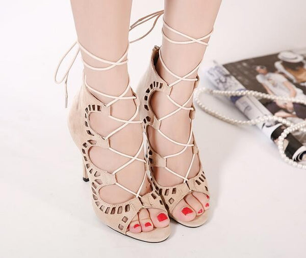 Lace up High Heel Cut Out Summer Open Toe Sandal Pump Shoes