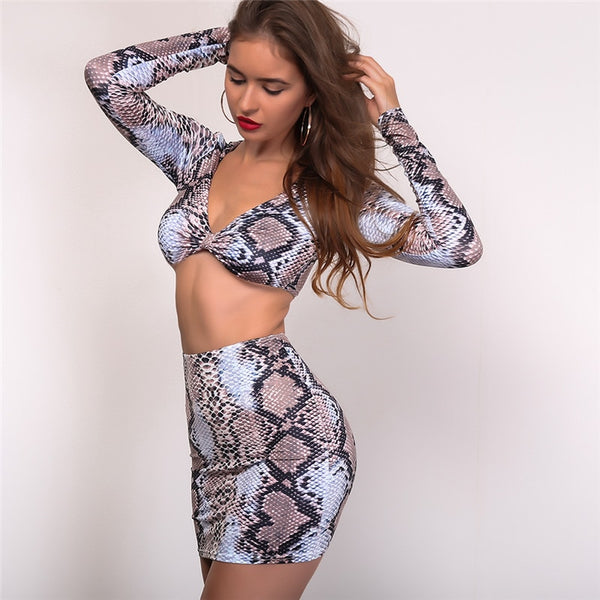 Snakeskin Pattern Two Piece  Crop Top Long Sleeve Print Clubwear Bodycon Skirt Dress