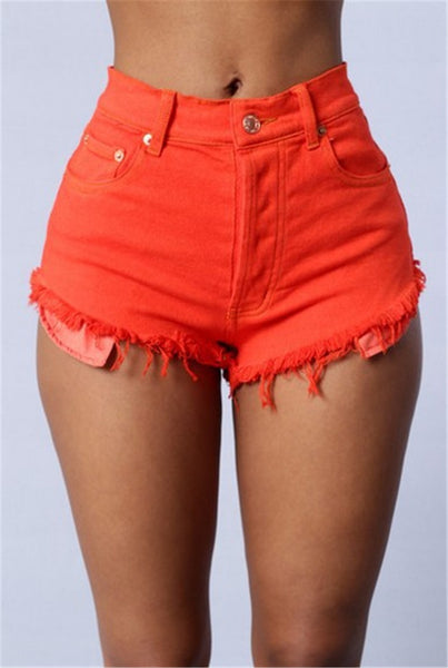 High Waist Ripped Short Denim Jean Pants in 3 Colours
