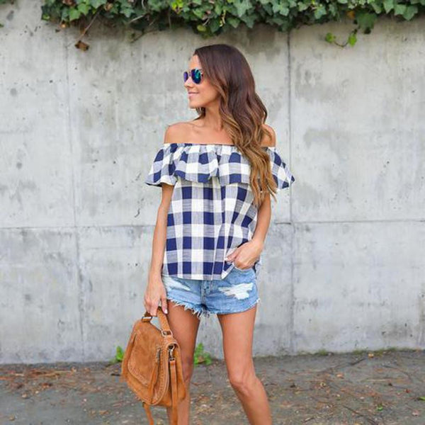 Off Shoulder Plaid Short Sleeve Casual Chiffon Shirt Top