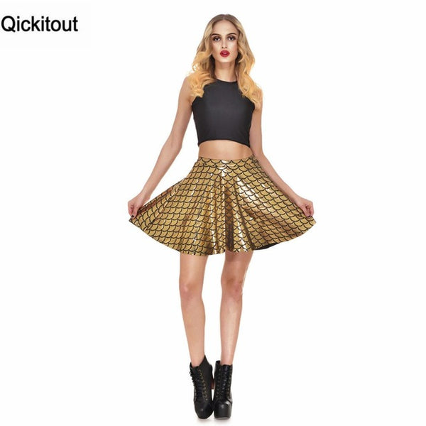 High Waist Mermaid Color Scales skater Flare Mini Women's Above Knee Skirts
