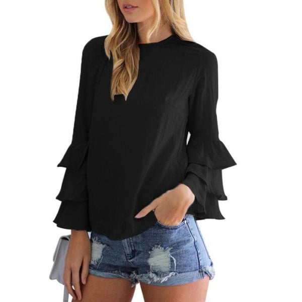 Ruffle Long Sleeve O Neck Top Blouse in 2 colours