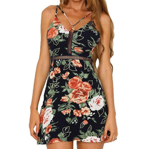 Floral Print Cross String Spaghetti Strap  Dress in 2 Colours - The Clothing Company Sydney