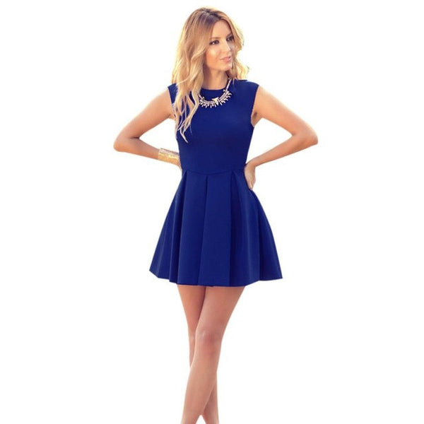 Sleeveless O Neck Pleated Mini Dress in 4 Colours