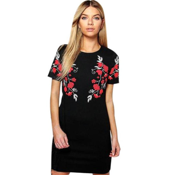Short Sleeve Floral Print O Neck Casual Cocktail Dress in 2 colours