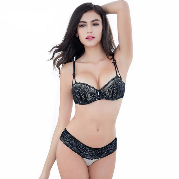 Half cup ultra - thin lace ladies bra underwear set