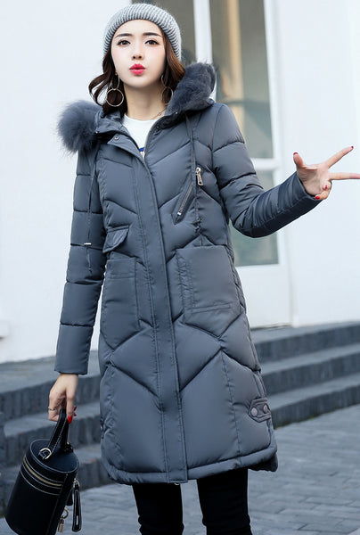 Faux Fur Hooded Long Puffer Overcoat Jacket (Plus Size) 7 Colours
