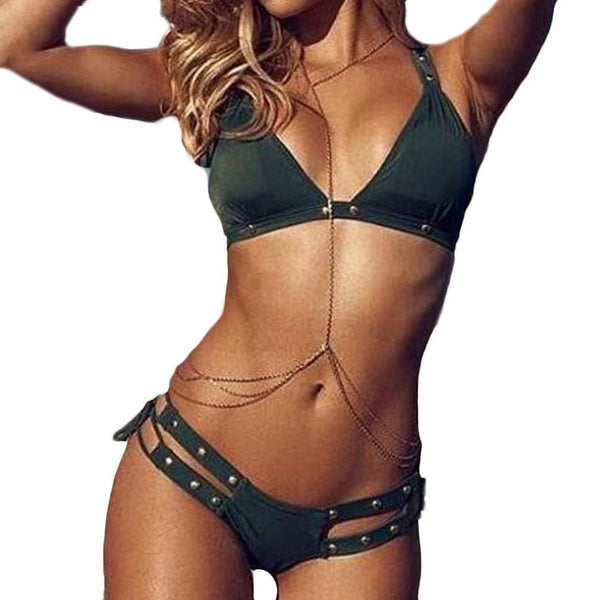 Push Up V-Neck Bra Top Split Band Bikini Swimsuit Swimwear