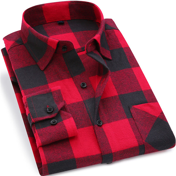 Mens Flannel Plaid Cotton  Spring Autumn Casual Slim Fit Long Sleeve Shirt