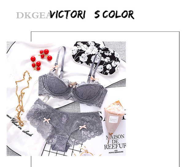 Plus Size Thin Cotton Lace Comfortable Brassiere Embroidered Lingerie Bra and Underwear Set