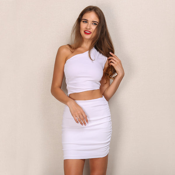 Elegant ladies white bodycon one shoulder solid sexy 2 piece chic short Skirt and Crop Top