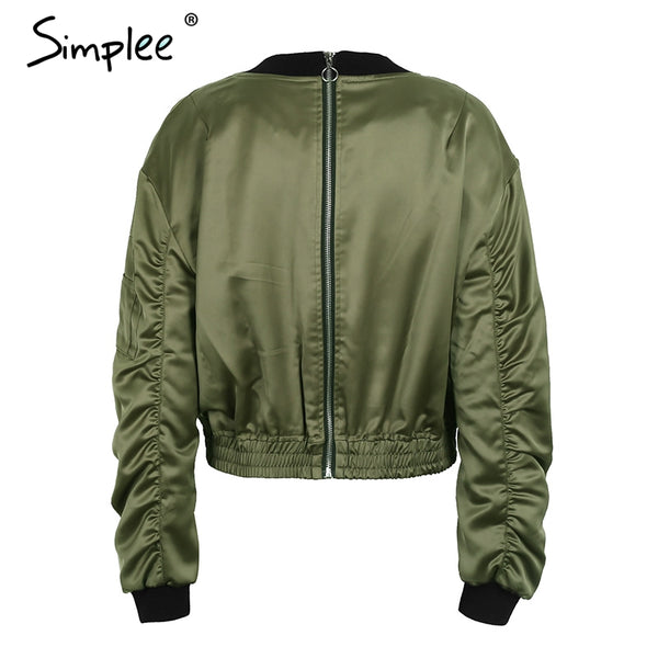 Waist Belt Womens Zipper Bomber Jacket