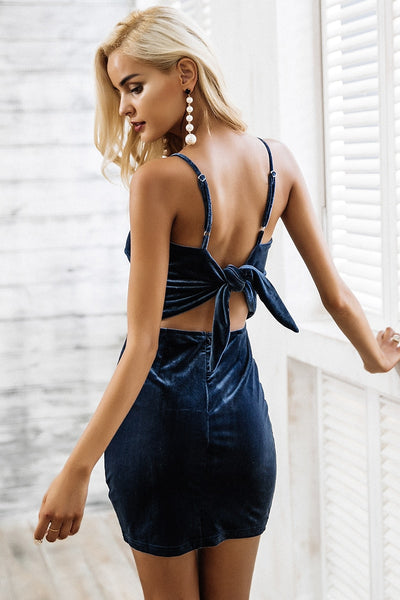 Sexy strap backless velvet Casual bow slim bodycon dress