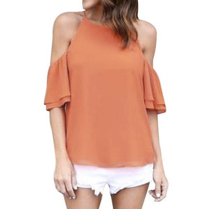 Chiffon Cut Out Shoulder Tops Short Sleeve Square Collar Shirt Casual Women Blouse Loose Shirt - The Clothing Company Sydney