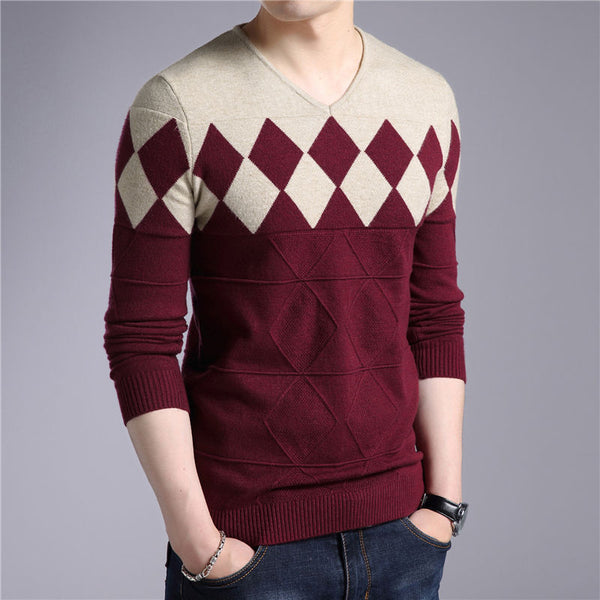 Cashmere Wool Slim Fit Argyle Pattern V-Neck Sweater