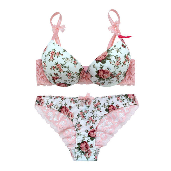 2 Piece Silk Lace Floral Push up Bow Bra and Hollow out Panties