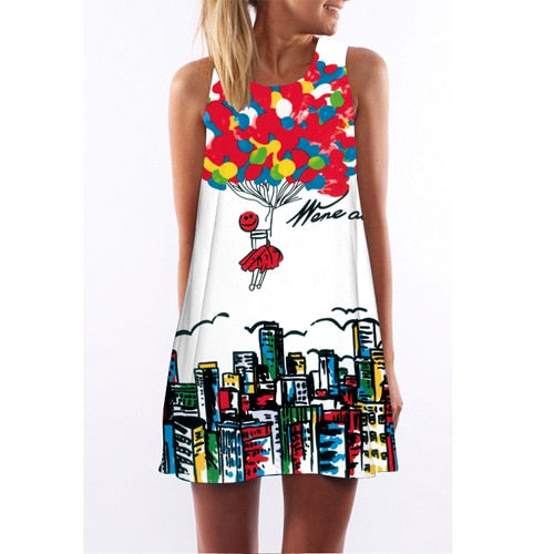 Floral Print Chiffon Dress Sleeveless Boho Style Short Beach Dress Sundress
