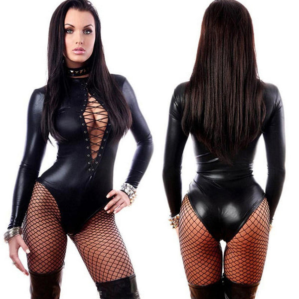 Black PVC Leather Like Tight Coverall Longsleeve Bodysuit - The Clothing Company Sydney