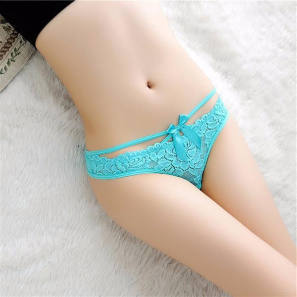 Women Sexy Lace Briefs Panties Thongs G-string Lingerie Underwear with Bow