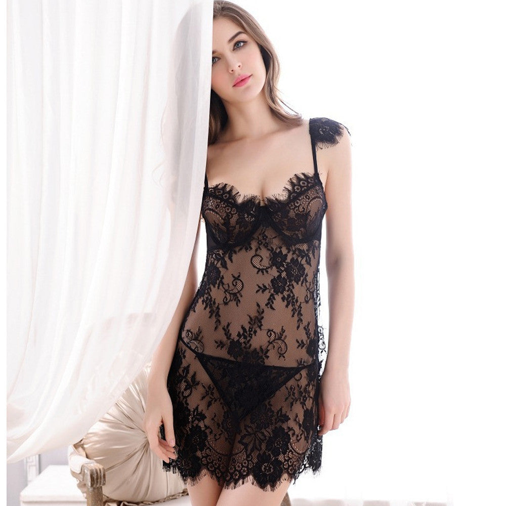 Lingerie Women Underwear Babydoll Sleepwear Lace Dress G-string Set