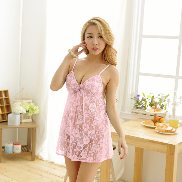 Sexy  Lingerie Lace G-string Dress Underwear Babydoll Nightwear Set