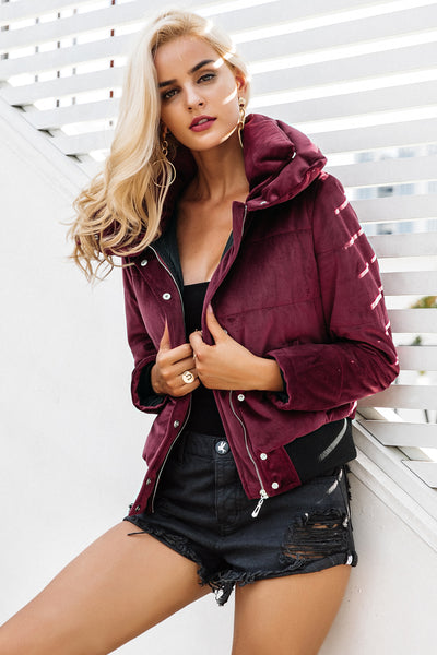 Velvet Cotton Padded Parka Jacket Casual Outerwear
