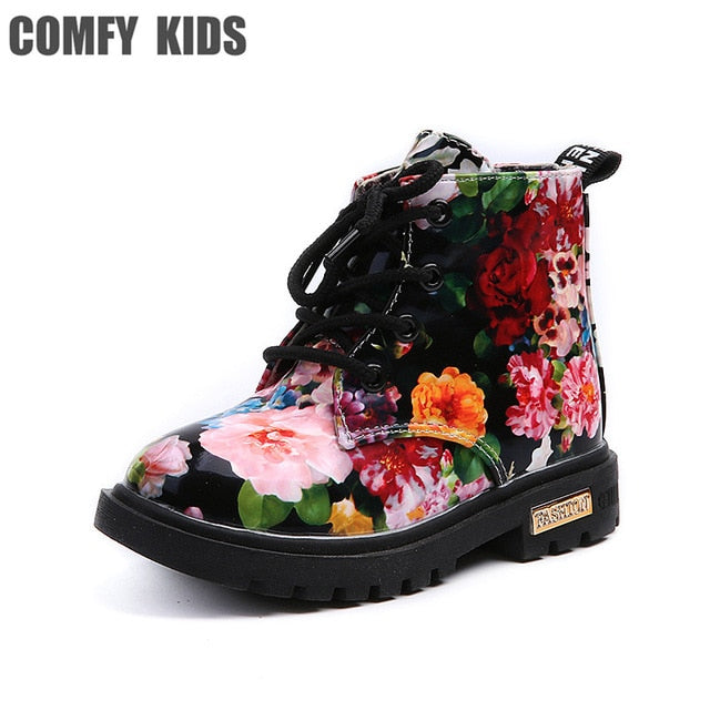 Comfy Kids Floral Martin Elegant Flower Print PU Leather Shoes Rubber Boots For Girls