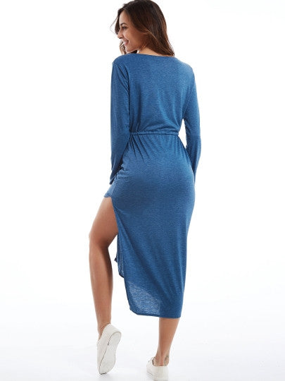 Plain V-Neck Drawstring Waist Split Bodycon Dress