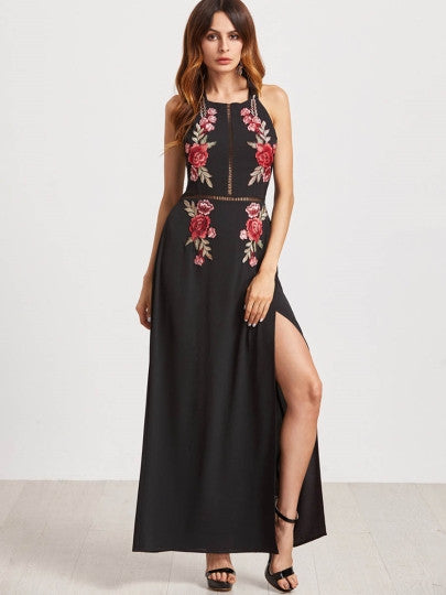 Black Embroidered Side Split Open Back Women's Maxi Dress - The Clothing Company Sydney