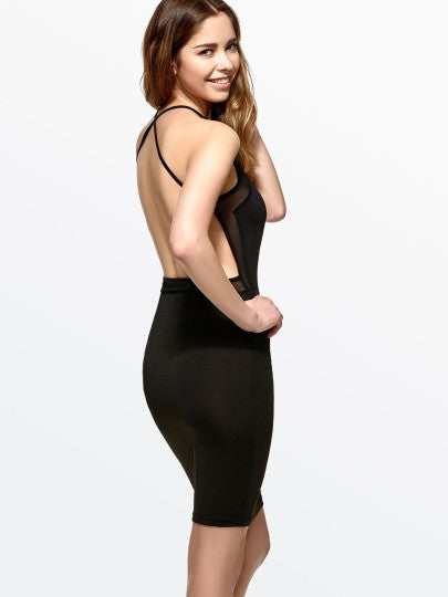 Black Backless Halter Women's Bodycon Dress - The Clothing Company Sydney