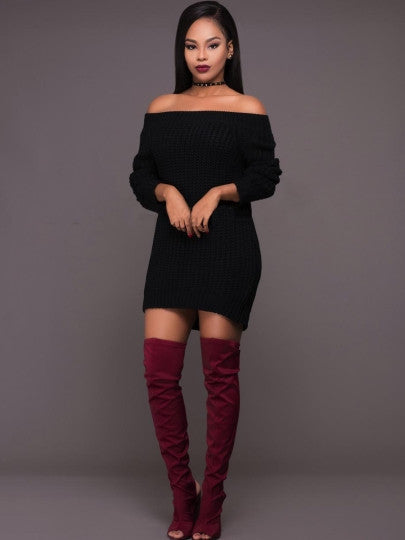 Black Off Shoulder Knitted Sweater Dress - The Clothing Company Sydney