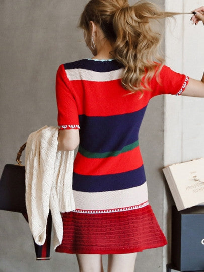 Short Sleeve Knitted Multi Coloured Sweater Dress