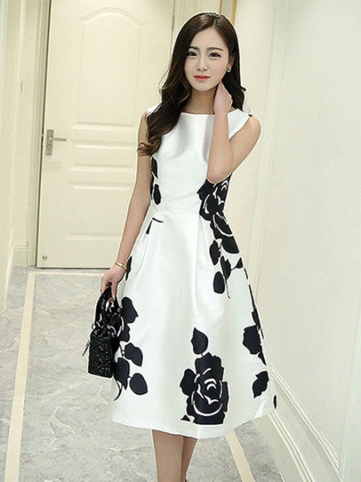 White and Black Floral Print Sleeveless Day Dress