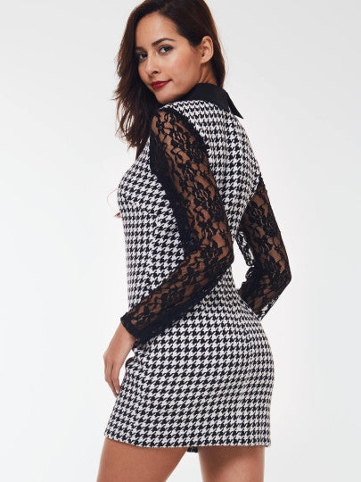 Plaid Collar Lace Straight Long Sleeve Dress