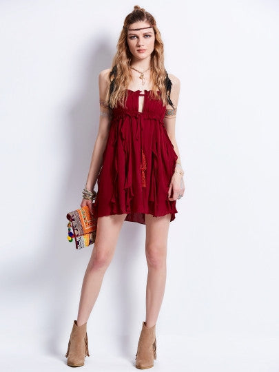 Burgundy Spaghetti Strap Sleeveless Open Back Tiered Women's Day Dress - The Clothing Company Sydney