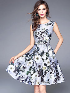 Grey Floral Print Women's Skater Dress