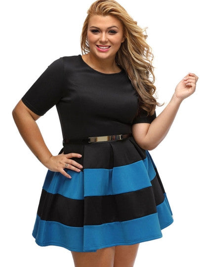 Plus Size Striped Short Sleeve Day Dress