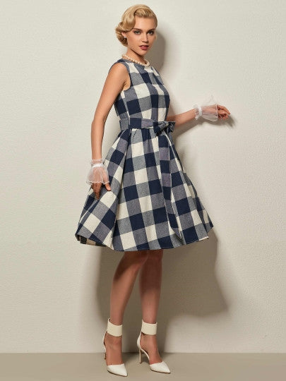 Round Neck Cap Sleeve Plaid Bow Knot Day Dress