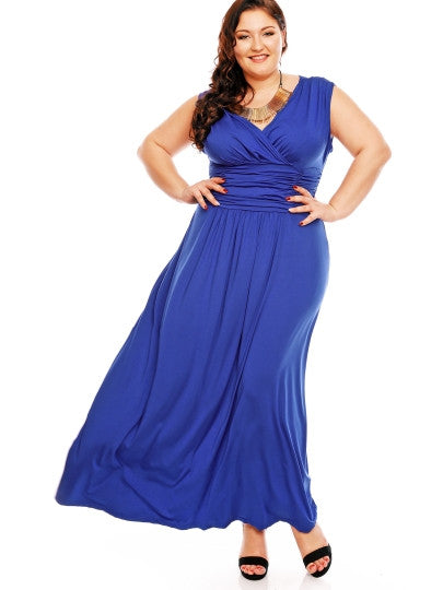 Dark Blue Ruffle Women's Plus Size Dress - The Clothing Company Sydney