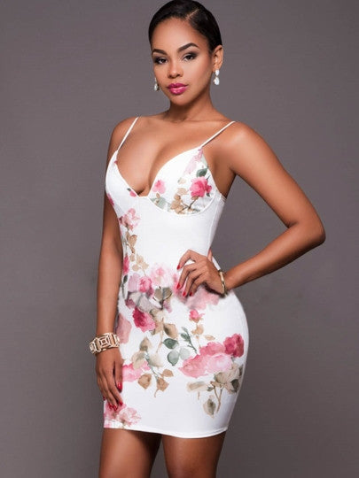 Strappy Floral Print Women's Cocktail Dress